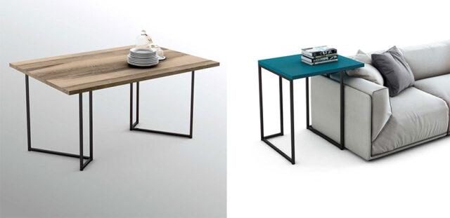 Mesa de comedor y mesilla de noche realizadas con la pieza número 1 de OLUT